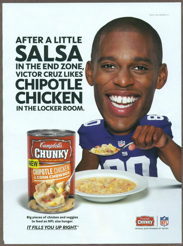 Victor Cruz, Campbell's soup: Football Now, Football Players, Players Endors, Campbell Soups, Victor Cruz, Vintage Advertising
