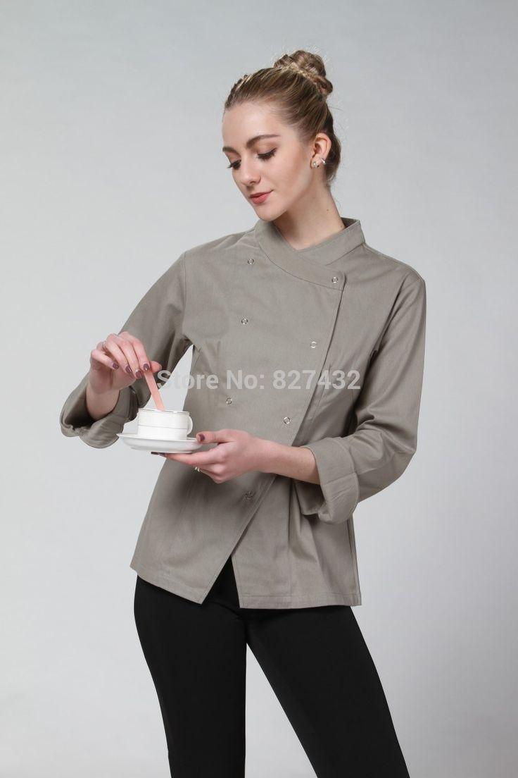 2015 nuevo diseño del envío libre de Color azul gris de Color marrón Color mujeres cocinero capa del cocinero uniformes del cocinero chaqueta venta en Chef Jackets de Novedad y de uso especial en AliExpress.com | Alibaba Group