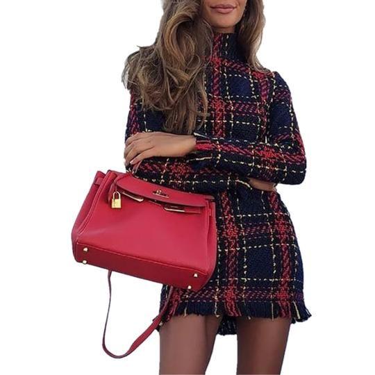 2512de6e7b Ladies autumn and winter basic slim plaid woman mini dresses cute ...