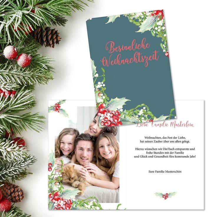 """Eine besinnliche Weihnachtszeit wünscht unsere Karte """"Weihnachtszauber"""" zum Jahresende - hier online gestalten und drucken lassen."""