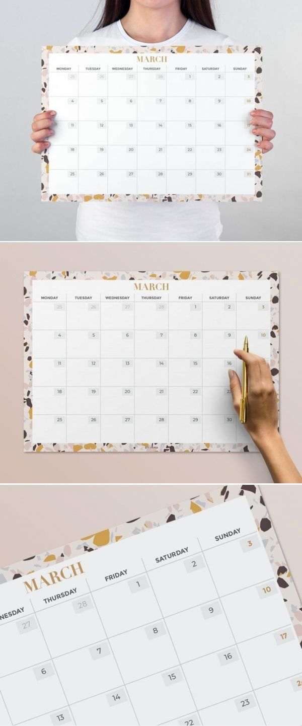 2020 Calendar Printable Terrazzo Decor Large Wall Calendar A2 16x20 Letter And Tabloid Digital File Instant Download Calendar Printables Printable Wall Calendar Print Calendar