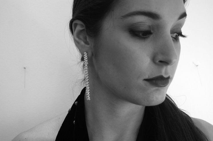 Dropped bubbles. Long cuff earrings