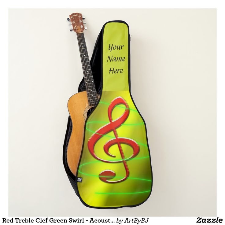 Red Treble Clef in a Green Swirl - for Acoustic or Electric Guitar Case. . . a lovely feminine design for a lovely guitar player.