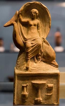 Aphrodite riding a dolphin - Terracotta from Myrina, Greece, 1st BC, Antikensammlungen, Munich