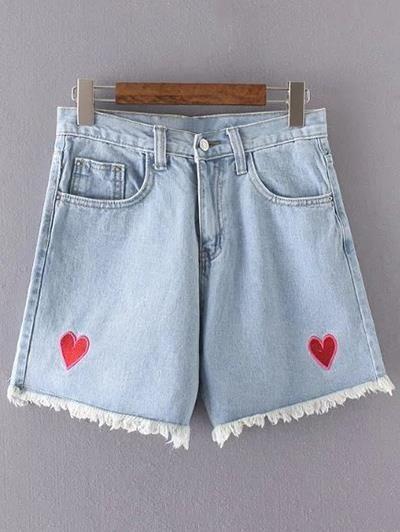 Pantalones cortos de talle alto Corazón bordado del dril de algodón