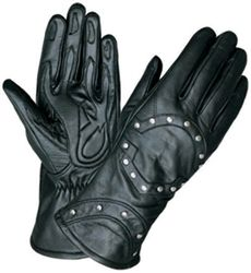 A must have - Ladies black leather studded motorcycle gloves. $29.99
