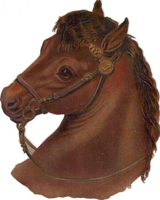 Larger Victorian Die Cut Scrap Brown Horse Dog c1880