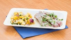 Seared Tuna with Pineapple Salsa and Avocado Puree