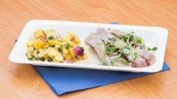 Seared Tuna with Pineapple Salsa and Avocado Puree