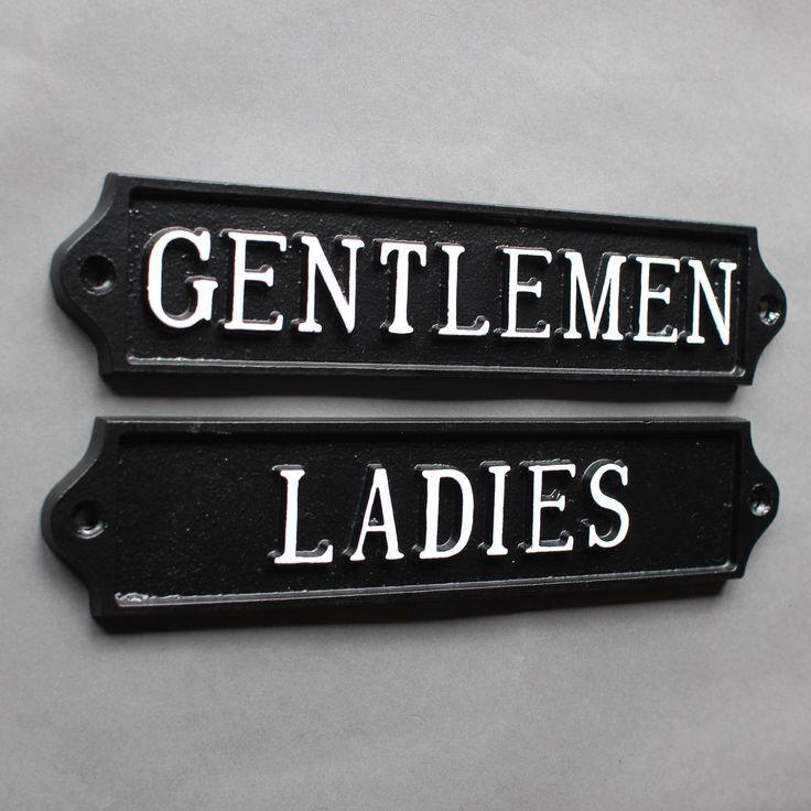 antique style traditional ladies and gentlemen toilet door signs