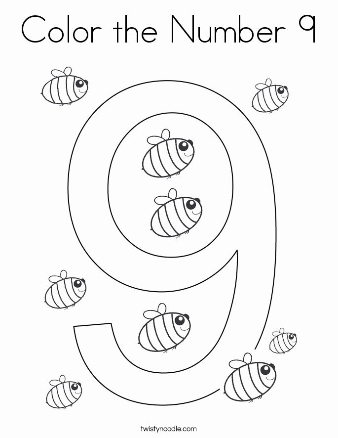 Number 9 Coloring Pages Lovely Color The Number 9 Coloring Page Twisty Noodle Numbers Preschool Coloring Pages Coloring Pages Inspirational