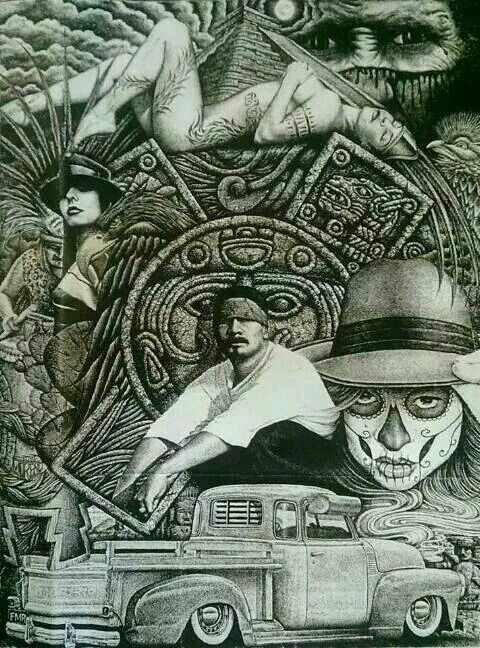 1141 best lowrider arte by guillermo images on pinterest for Aztec mural tattoos