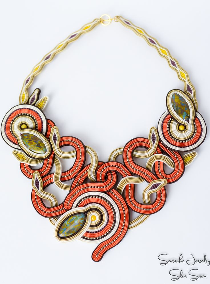 October Soutache Necklace, Autumn colors, Orange, Beige, Purple, Yellow