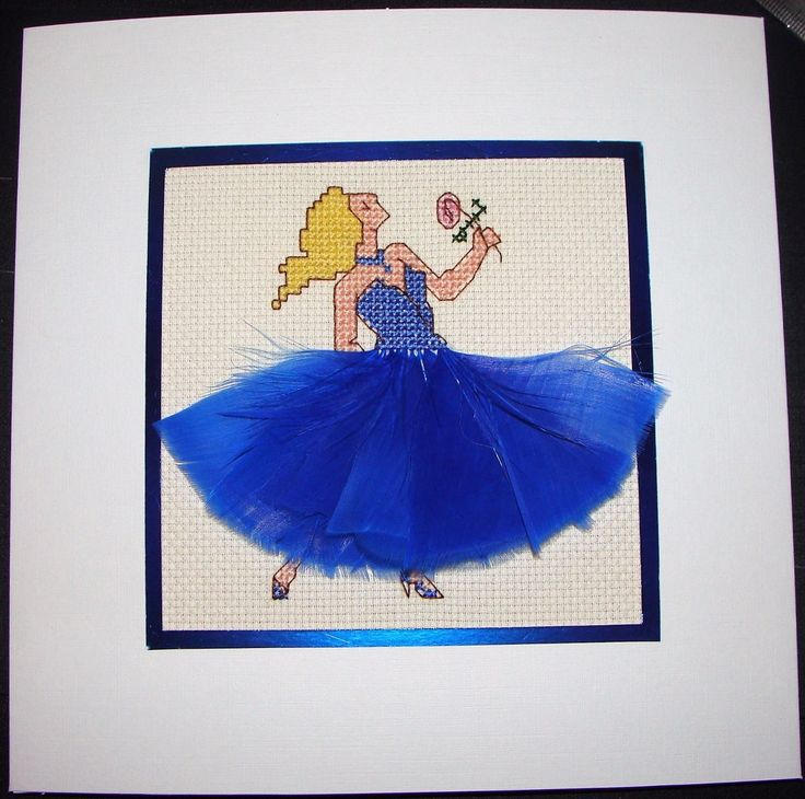 Completed Cross Stitch Extra Large Card - Beautiful Dancer In Blue | eBay