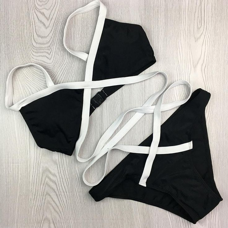 Black And White Bikini Set