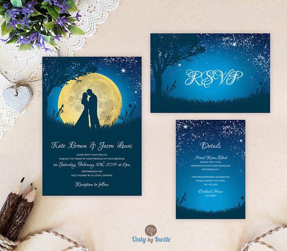 cheap wedding invitation sets starry night wedding invitations printed bride and groom wedding invitation