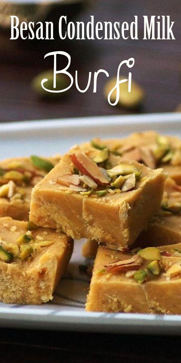 Besan Condensed Milk Burfi Recipe How To Make Besan Milkmaid Burfi Diwali Sweets Recipes In 2020 Burfi Recipe Indian Snack Recipes Easy Indian Dessert Recipes