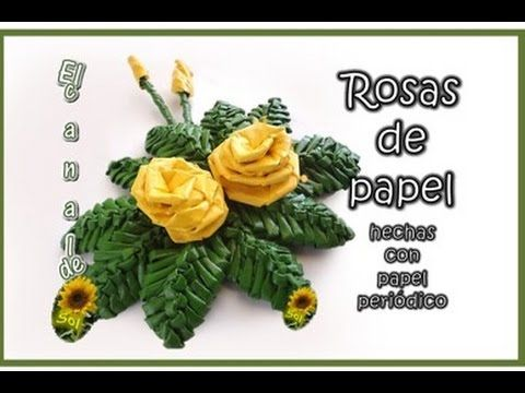 ▶ FLOR DE NOCHEBUENA HECHA CON PAPEL PERIODICO - Poinsettia made with newspaper (with translator) - YouTube