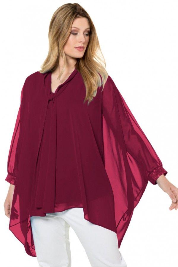 Burgundy Long Sleeve Chiffon Overlay Plus Size Blouse 1