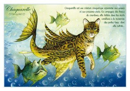 """«Chaquarelle», par Séverine Pineaux. -- """"Chaquarelle est une créature chaquatique apparentée aux sirènes et aux poissons-chats. En compagnie des bancs de chardines, elle folâtre dans les récifs coralliens à la recherche de perles fines dont elle raffole…""""."""
