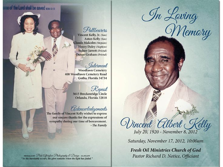 Best Obituary Images On   Program Template Funeral