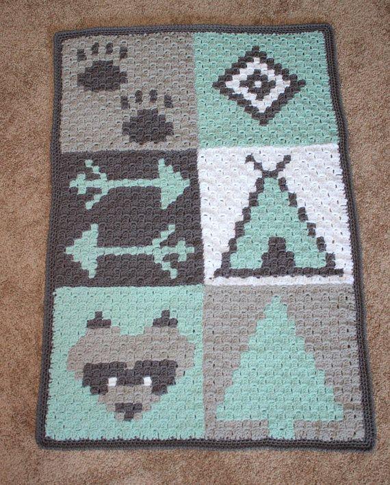Woodland Nursery- C2C Crochet Pattern- Tribal- Crochet Blanket Pattern- Nursery Decor- Easy Crochet Pattern