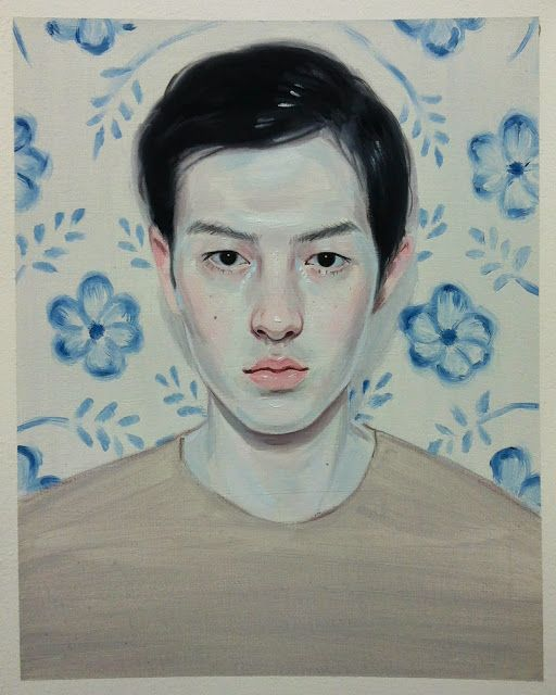 "Kris Knight, ""Blue Flowers"" Oil on prepared cotton paper, 10x8"" 2013"