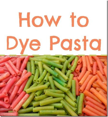 how to dye cooked pasta for sensory play