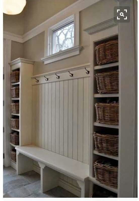For an entryway/mudroom/ garage entry area with storage