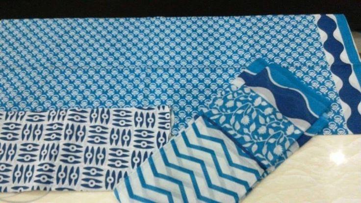 Blue and White multicolour Jaipuri print unStitched Salwar Suit dupatta