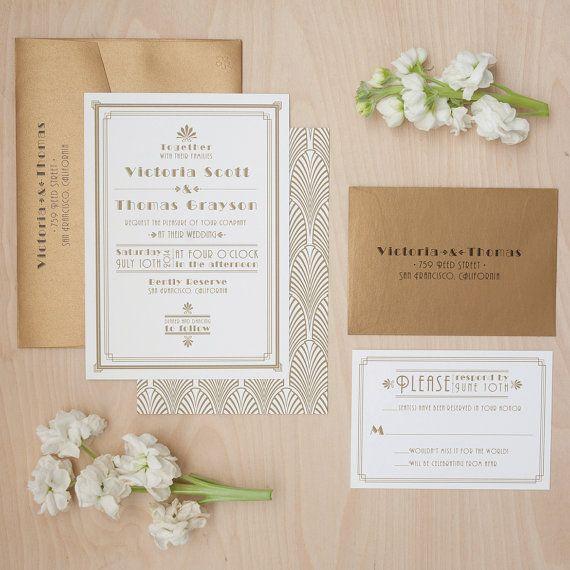 Art Deco Wedding Invitation Gold Invitation by JenSimpsonDesign