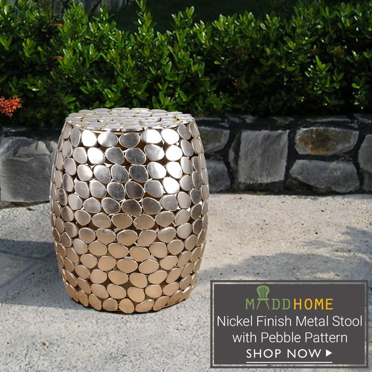 Nickel Finish Metal Stool with Pebble Pattern