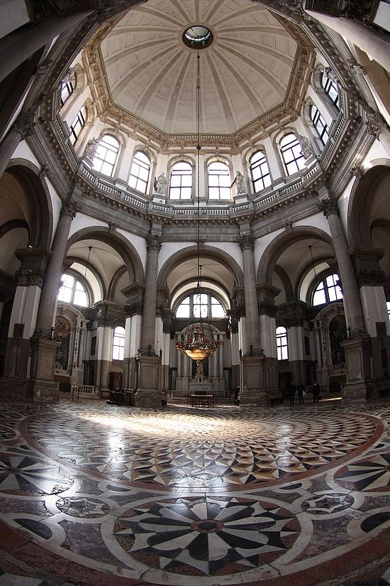 Interior under the very large dome of Santa Maria della Salute (Basilica of St. Mary of Health), Venice, built 1631-1681.  The floor is gorgeous and I love all the windows.