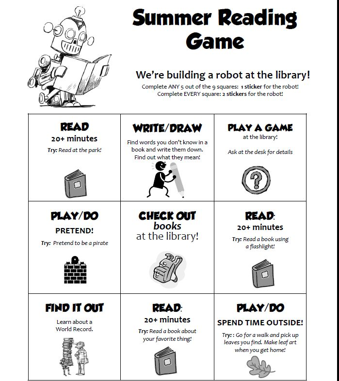 Check out another great summer reading game card idea from Bryce Don't Play.