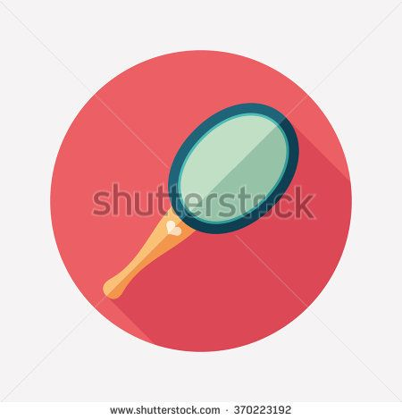 Mirror with handle flat round icon with long shadows. #love #loveillustration #flaticons #vectoricons #flatdesign
