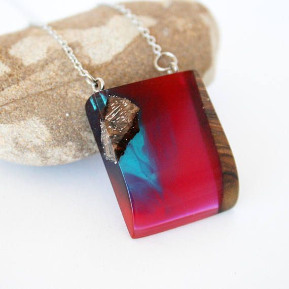 Wood Resin Pendant Resin Wood Necklace Wood & Resin