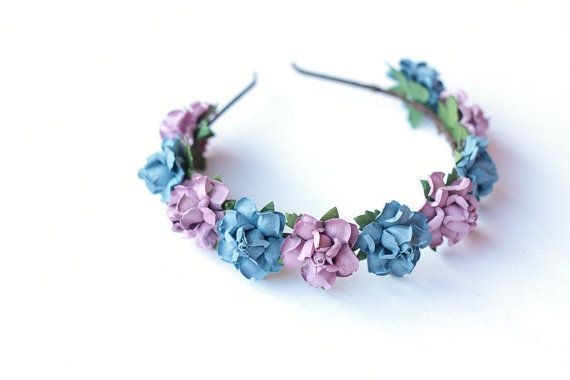 sweet rosie rose flower headband / lilac & blue / by kisforkani
