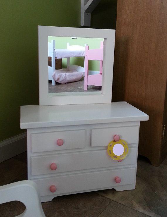Wooden Dresser W Mirror S Doll Clothes 12 14 16 18