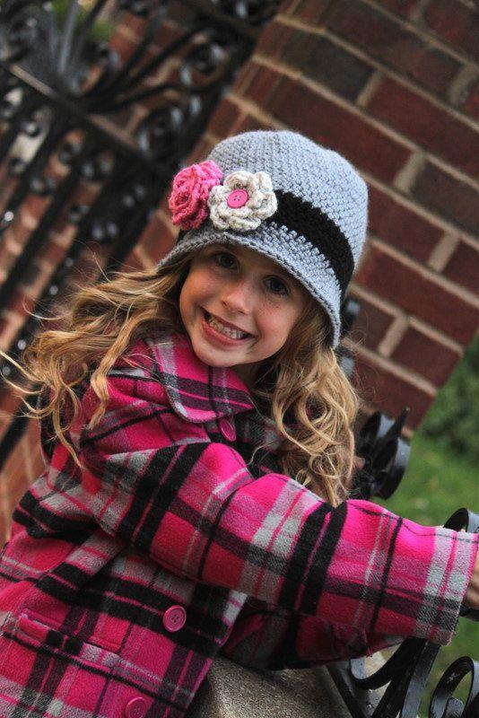 Girls crochet beanie hat with flowers