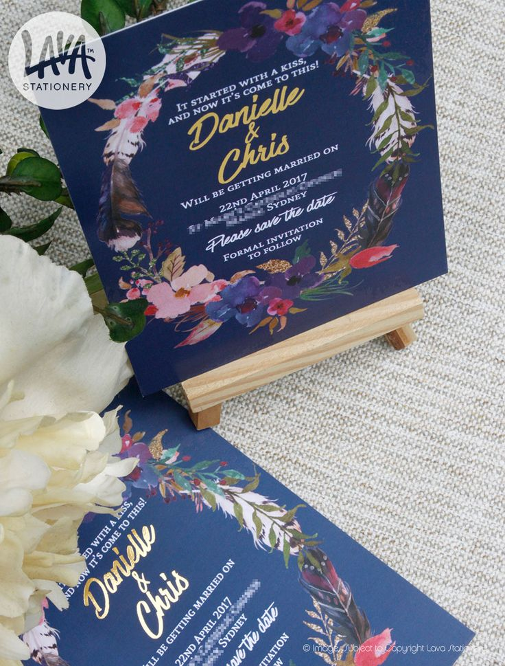 Lava Stationery Arabella Save the Date in Navy with floral feather wreath and gold metallic foil stamping - www.lavastationery.com.au