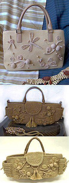 красивые вязаные сумки.