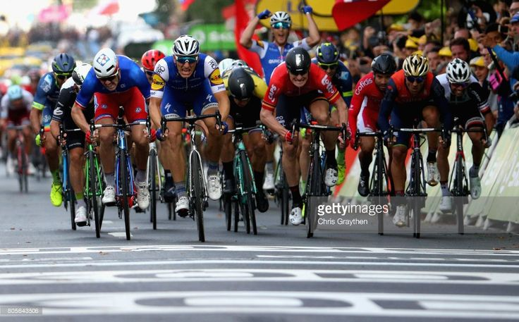 #TDF2017 The race for the line between Marcel Kittel of Germany and Quick-Step Floors, Arnaud Demare of France and FDJ, Andre Greipel of Germany and Lotto Soudal and Mark Cavendish of Great Britain and Team Dimension Data during stage two of the 2017 Tour de France, a 203.5km road stage from Dusseldorf to Liege on July 2, 2017 in Liege, Belgium.