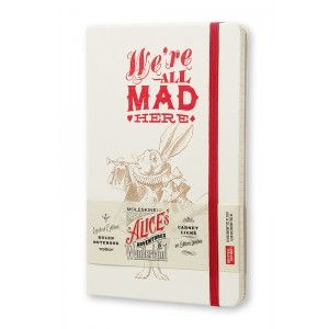 Moleskine - Alice In Wonderland Notebook - Limited Edition - Ruled - Large (13x21cm) - Hard Cover - White
