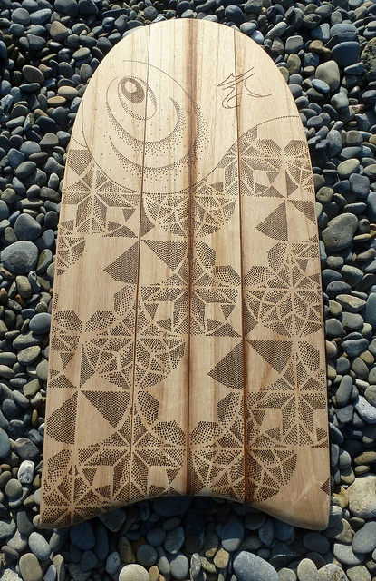 "itagopyrography127 by Surfboard Art in Wales, via Flickr. Presentation photograph showing paipo/itago at Newgale Beach, Pembrokeshire. Photograph and pyrography by P.Boothmanof sawboards.co.uk. Shaping of Paulownia by G.Pratt of unsunghero surfboards. Available for sale. Length; 33 1/4""  Width; 16"" Thickness; 3/4"" Weight; 1100g £212.50 excludes p (Arranged upon request). Contact; general@sawboards.co.uk"