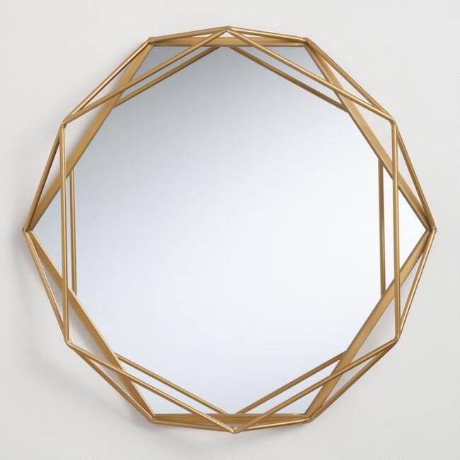 Our Round Wall Mirror Elevates Your Space With Its Cosmopolitan Frame Featuring A Geometric Design Modern Mirror Wall Mirror Wall Living Room Geometric Mirror