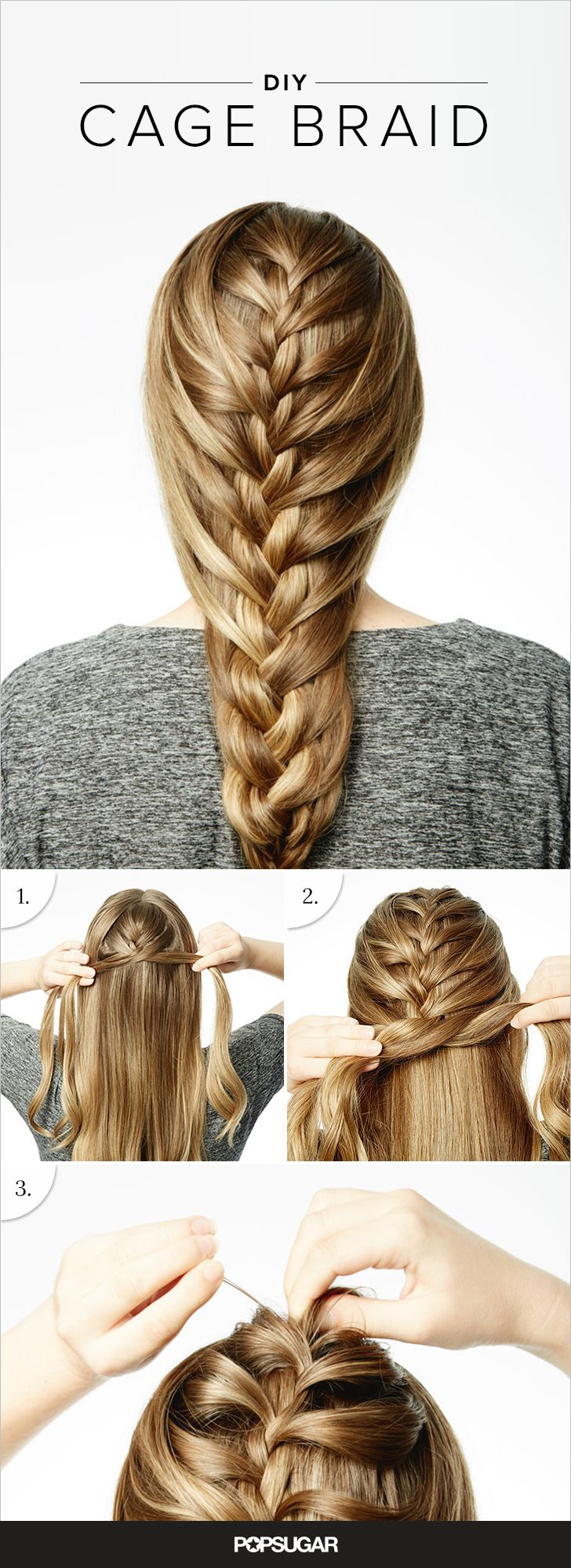 Like most of the epic braids we envy, we first spotted the cage braid on Instagram. The plait is a combination of the classic french and a fishtail. A central braid sits between little waterfalls of hair that move from the outside in. The finished plait looks just like a ribcage. At first glance, it seems impossible to do at home, but it is a lot easier to achieve than it looks. T3 celebrity hairstylist David Lopez broke down the twisted style into three simple steps ahead.
