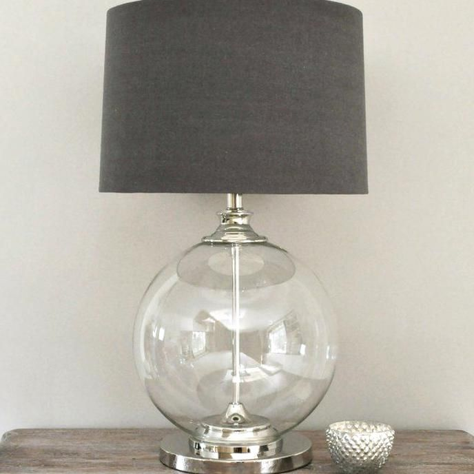 Glass Ball Table Lamp Grey Shade Table And Bedside Lamp Contemporary Table Lamps Lamp Table Lamp