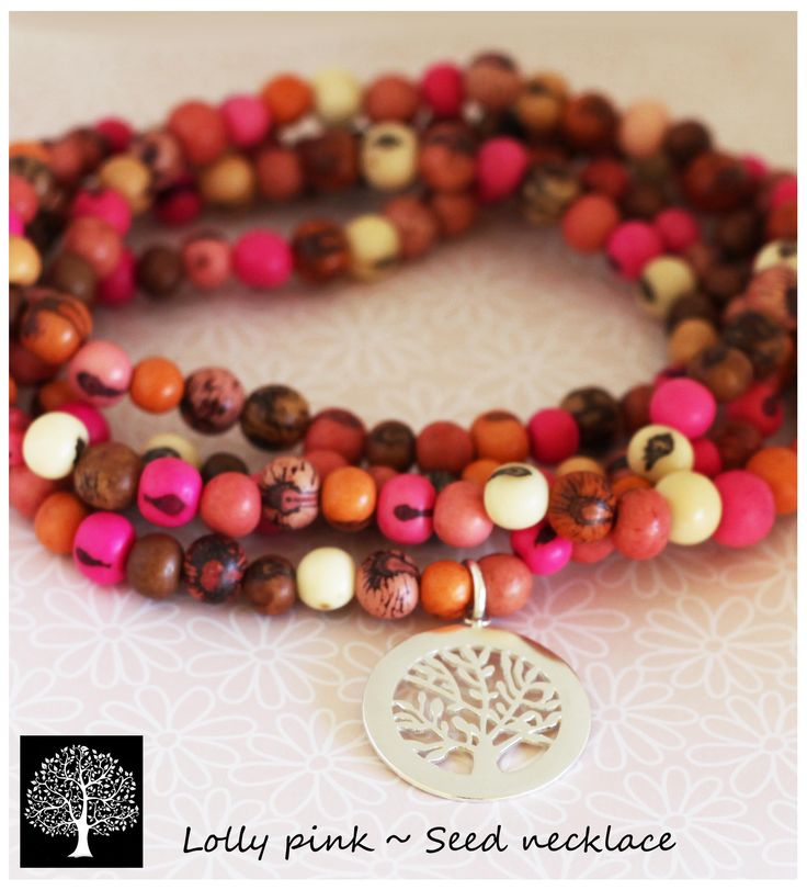 Lolly pink acai seed necklace with my family tree pendant