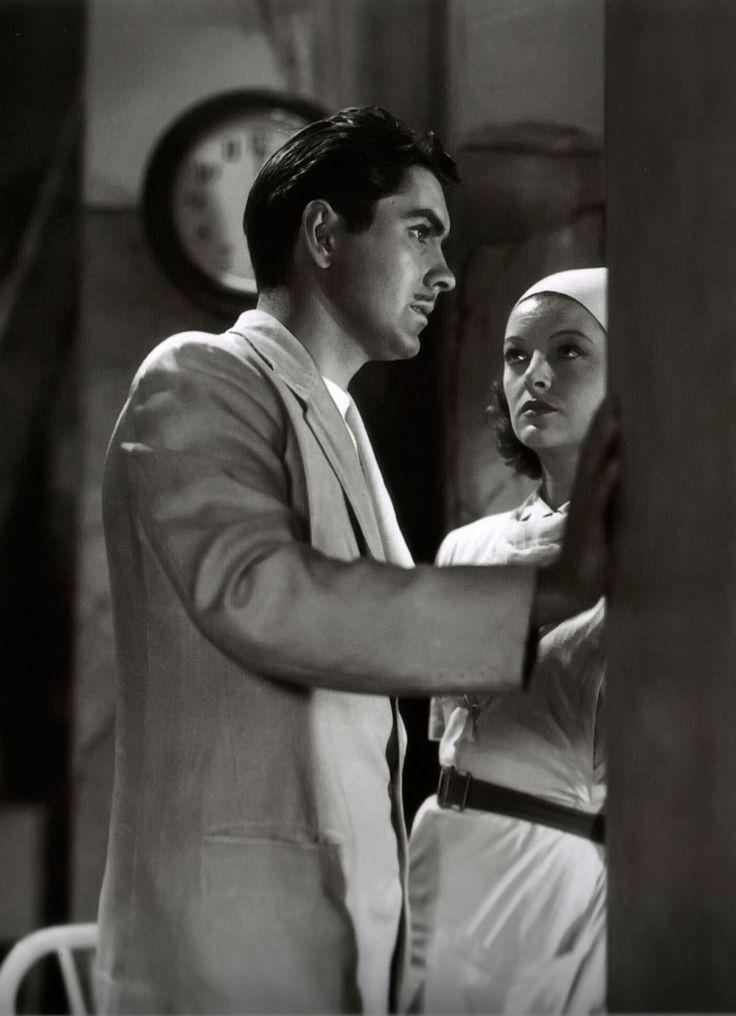 """Tyrone Power y Myrna Loy en """"Vinieron las lluvias"""" (The rains came), 1939"""