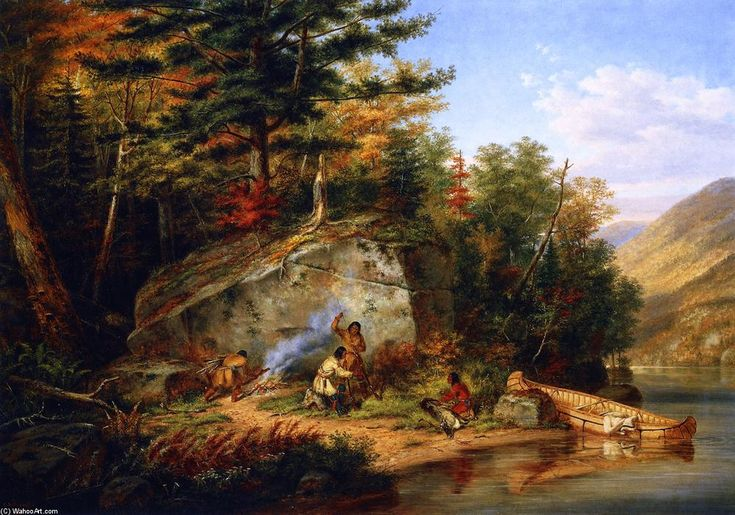 Índios Chippewa no Lago Huron. Óleo em painel. 1865. Cornelius David Krieghoff (1815-1872).